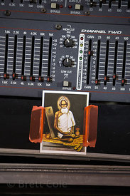 Image of Baba Lokenath on a stereo amplifier, Kalighat, Kolkata, India