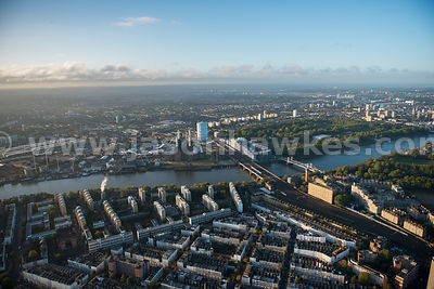 London. Aerial view looking across the River Thames from Pimlico to Battersea