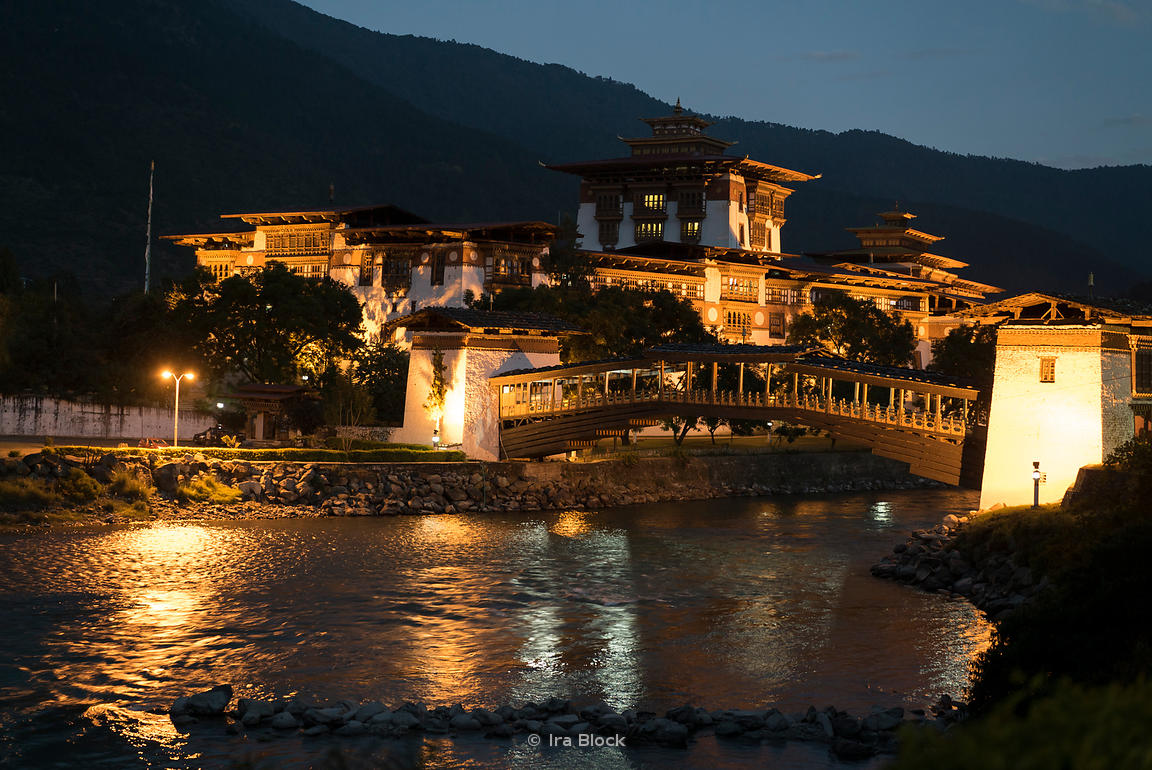 "The Punakha Dzong at night. It's also known as Pungtang Dechen Photrang Dzong (meaning ""the palace of great happiness or blis..."