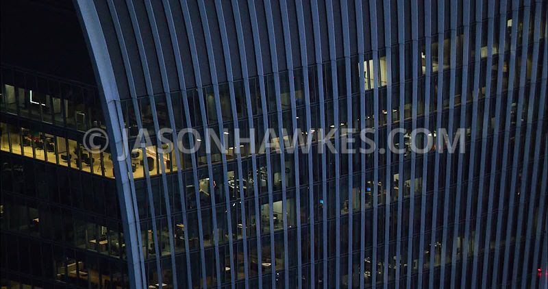 London Aerial Footage 20 Fenchurch Street at night.