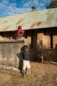 Children at the stone mission church at the site of 19th century slave market, Nkhotakota, Malawi