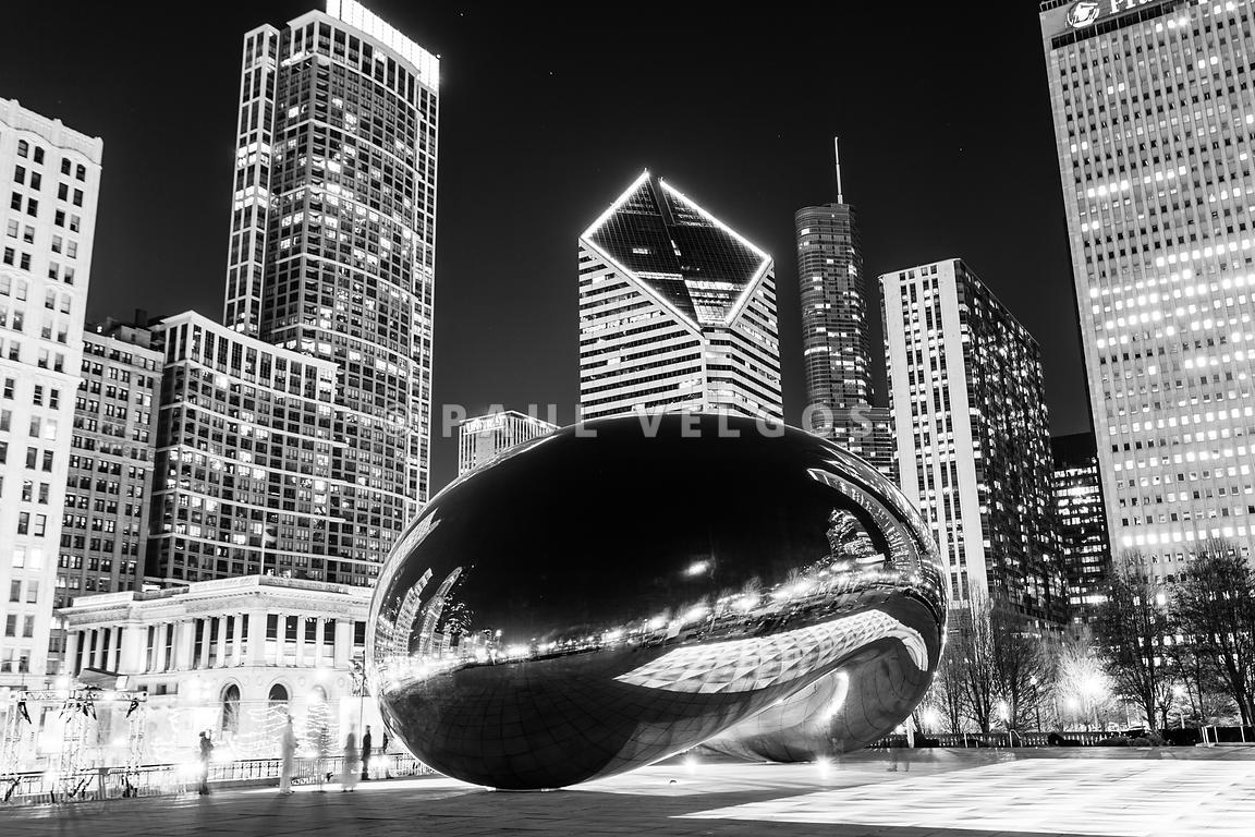 Cloud Gate Chicago Bean Black and White Picture