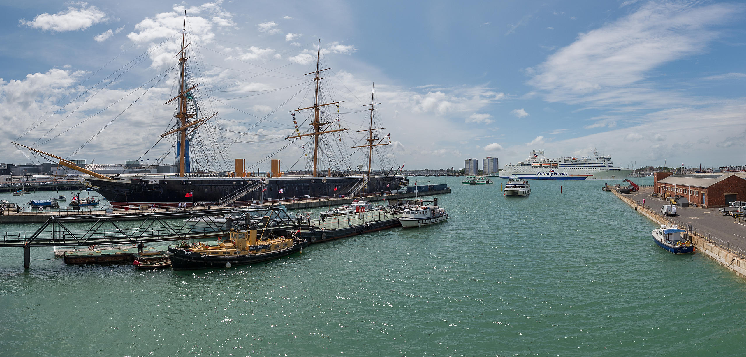 View of HMS Warrior From Boathouse 4 at Portsmouth historic Dockyard