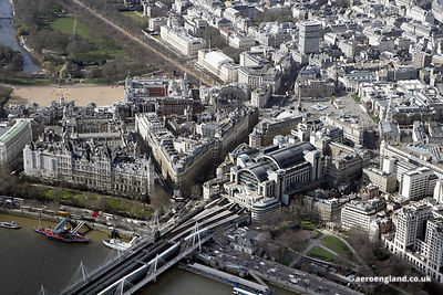 aerial photograph of Charing Cross railway station London England UK. Also in the photograph are Whitehall Pl, London SW1A 2A...