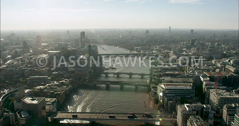 London Aerial Footage of River Thames, London Bridge to Blackfriars Bridges.