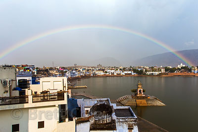Rainbow over sacred Pushkar Lake, holy to Hindus, Pushkar, Rajasthan, India