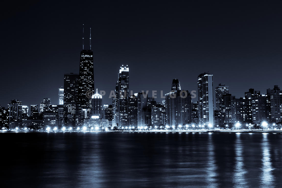 Downtown Chicago City Skyline at Night Photo