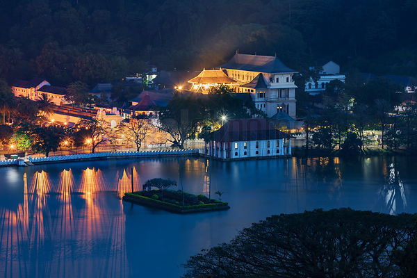 Elevated View of the Temple of the Tooth Relic at Dawn