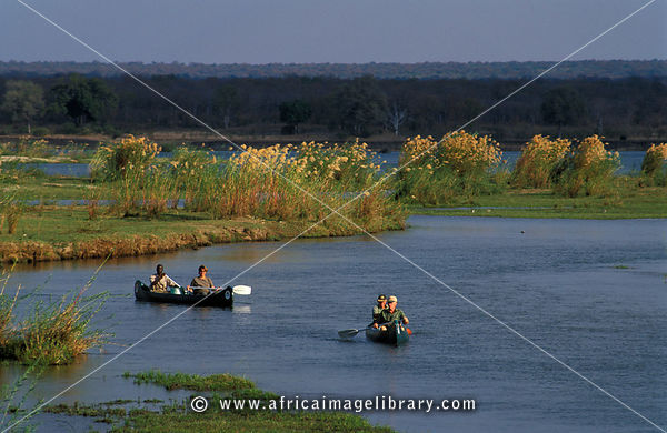 canoeing on the Zambezi river, Lower Zambezi National Park, Zambia