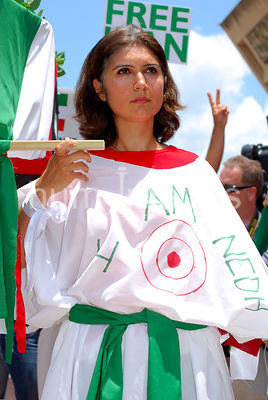 Dallas Stock Photos: Woman carrying casket  protesting against the 2009 Iran election results