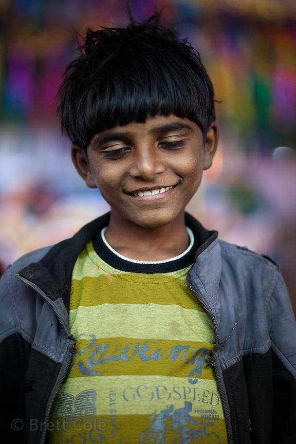 Portrait of a boy at the Pushkar Camel Mela, Pushkar, Rajasthan, India.
