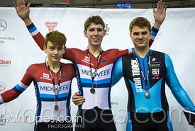 Junior Men Keirin Podium, 2017/2018 Track Ontario Cup #1, Mattamy National Cycling Centre, Milton On, December 10, 2017