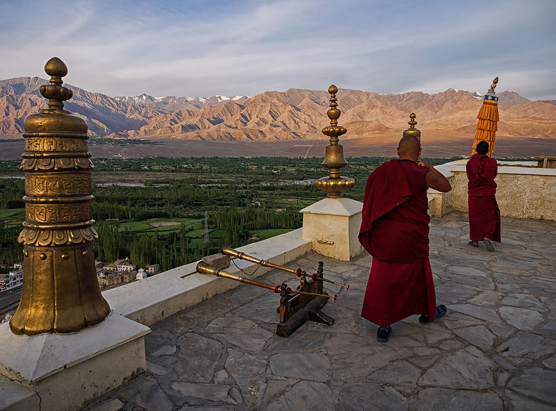 An everyday scene at a monastery in Ladakh.