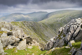Views from the summit of Dow Crag towards the Old Man of Coniston and Swirl How in the English Lake District.