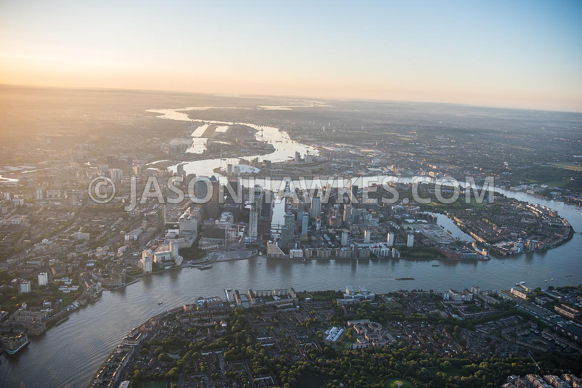 Aerial view of London, Canary Wharf and River Thames.