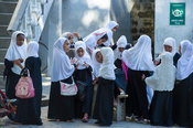Girls outside the koran school, Stone Town, Zanzibar, Tanzania