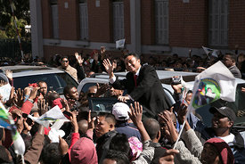 Marc Ravalomanana, former President of Madagascar, waves as he celebrates the 15th anniversary of his party Tiako i Madagasik...