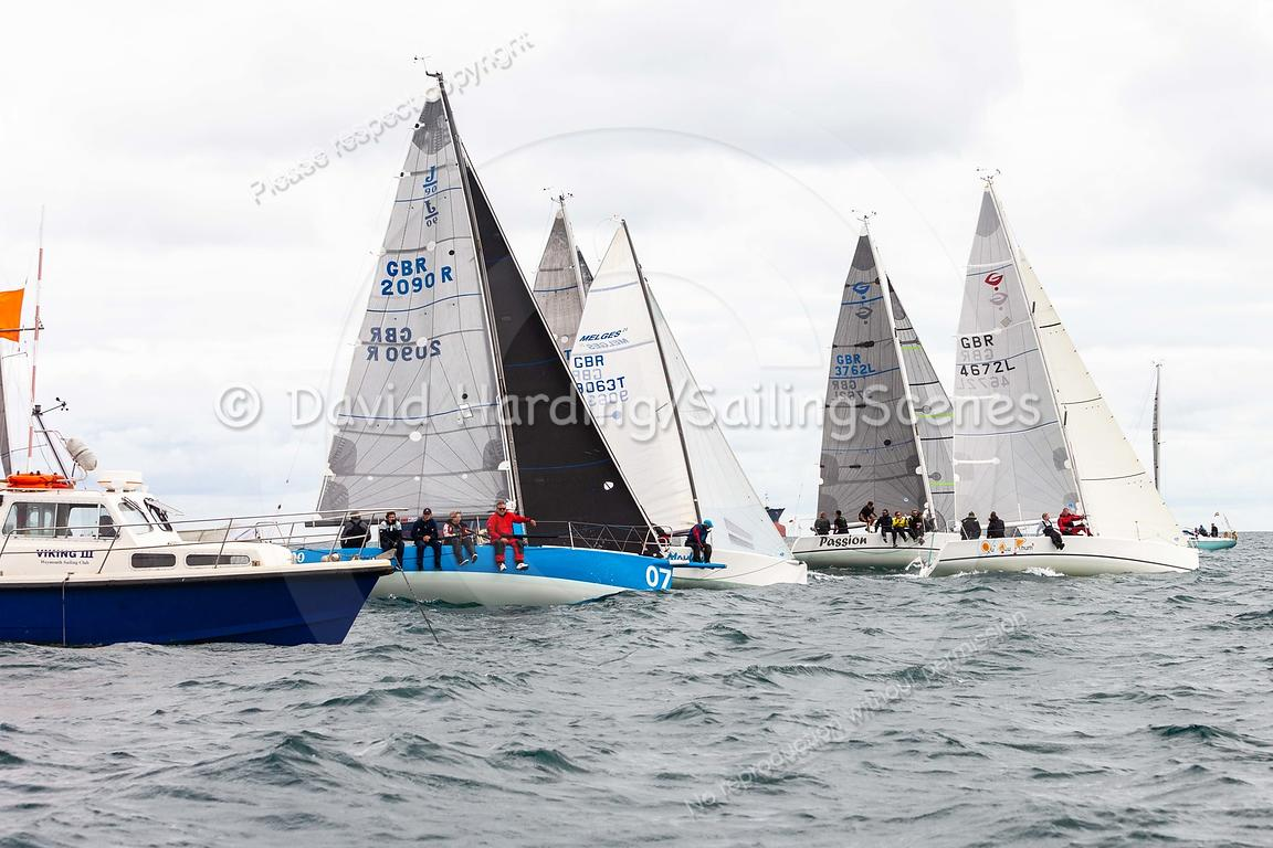 Sportsboat start, Weymouth Regatta 2018, 201809081320.