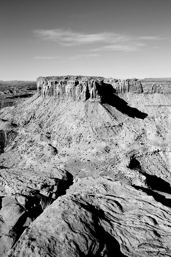 GRAND VIEW POINT OVERLOOK CANYONLANDS NATIONAL PARK UTAH BLACK AND WHITE VERTICAL