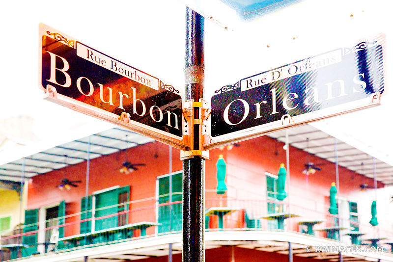 BOURBON STREET ORLEANS STREET SIGN FRENCH QUARTER NEW ORLEANS LOUISIANA