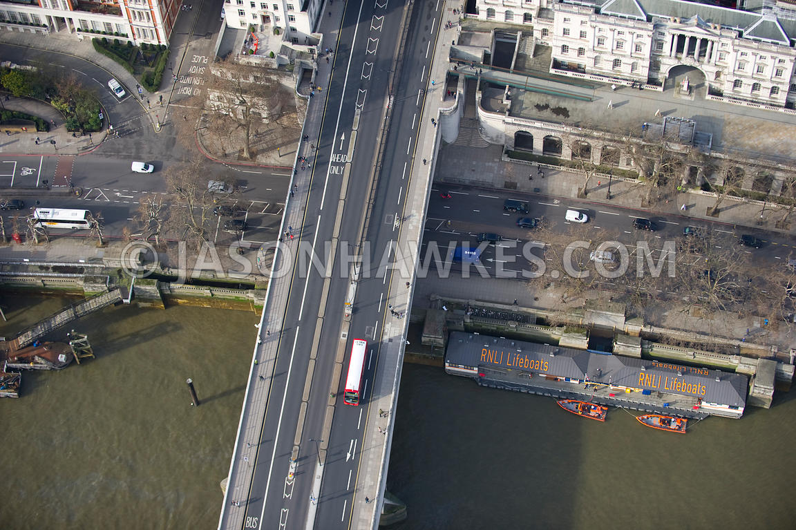 Aerial view of Waterloo Bridge, London.
