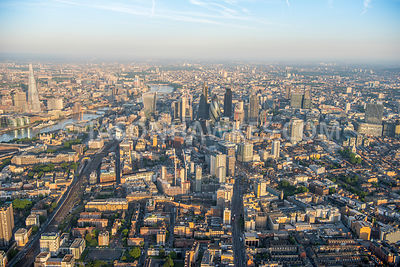 Aerial view of London, Whitechapel towards The Shard.