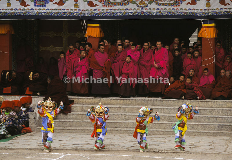 Monks preform a Devil Dance, Labrang Monastery, China