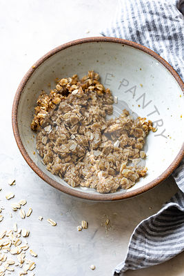 Oats for an apple crisp, in a bowl