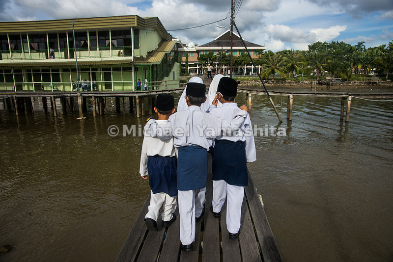 Muslim school children in Kampong Ayer, Bandar Seri Begawan