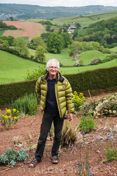 Ray Brown, plant breeder and seed supplier pictured in his trials field. Plantworld, Newton Abbot, Devon, UK