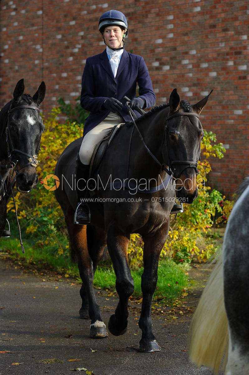 Mounted followers arriving at the meet - The Cottesmore Hunt at Braunston, 12-11-13.