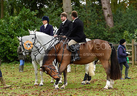 Jo Rutter, Russell Cripps, Peter Cooke at the meet. The Cottesmore Hunt at Somerby