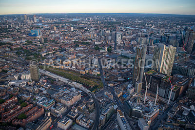 London, aerial view looking over Spitalfields