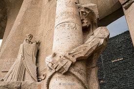 Sculpture carvings outside the Sagrada Família church in Barcelona, Spain
