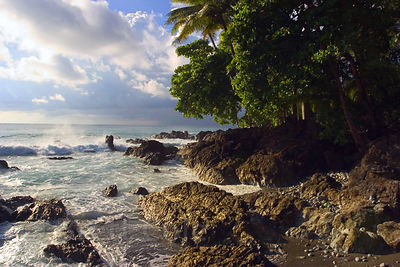 Beautiful wilderness coastline on the Southern Osa Peninsula near Puerto Jimenez, Costa Rica.