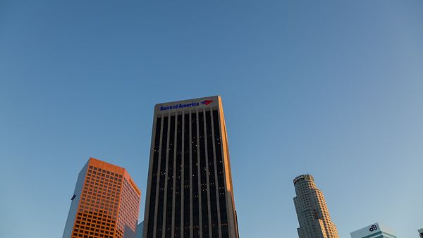 Wide Shot: From High-Rise to Intersection, An Angled Downward Pan In The Heart of Downtown L.A.