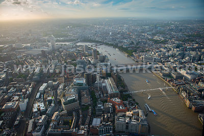 Aerial view of The River Thames looking West, London