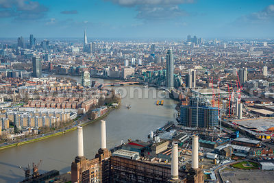 Aerial view of Battersea looking East, London