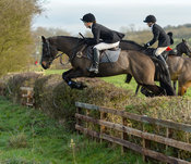 Hermione Brooksbank jumping a hedge on Deane Bank