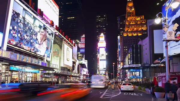 Medium Shot: Time's Square Traffic & Lights