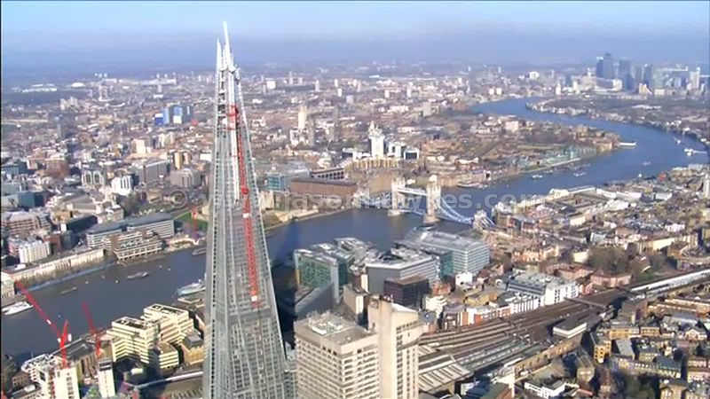 Aerial footage of The Shard, Southwark, London, England, UK
