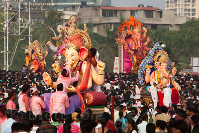 Large Ganpati (Ganesh idols) are immersed into the Arabian Sea at Chowpatty Beach, during the Ganesh Chaturthi festival, Mumb...