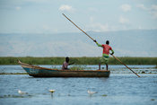 Fishing boat on Lake Albert, Semliki Wildlife Reserve, Uganda