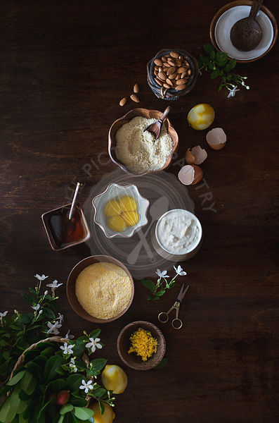 Ingredients for Ricotta and Almond Polenta Cake