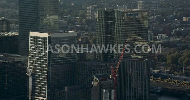 London Aerial Footage of Canary Wharf and Towers.