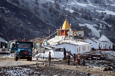 Staging area for paragliding and other recreation activities at 11,000 feet near Rohtang Pass, Manali, India