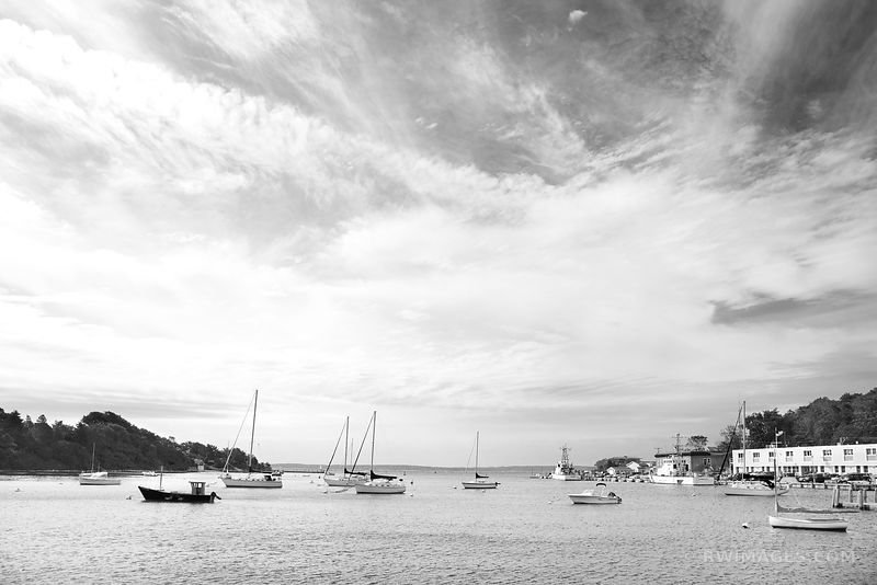 SAILBOATS IN HARBOR WOODS HOLE MASSACHUSSETTS BLACK AND WHITE
