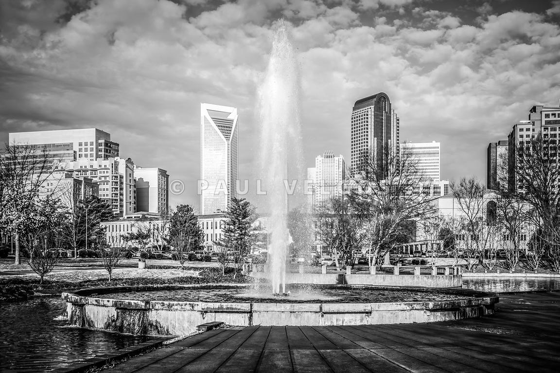 Charlotte Marshall Park Fountain Black and White Photo