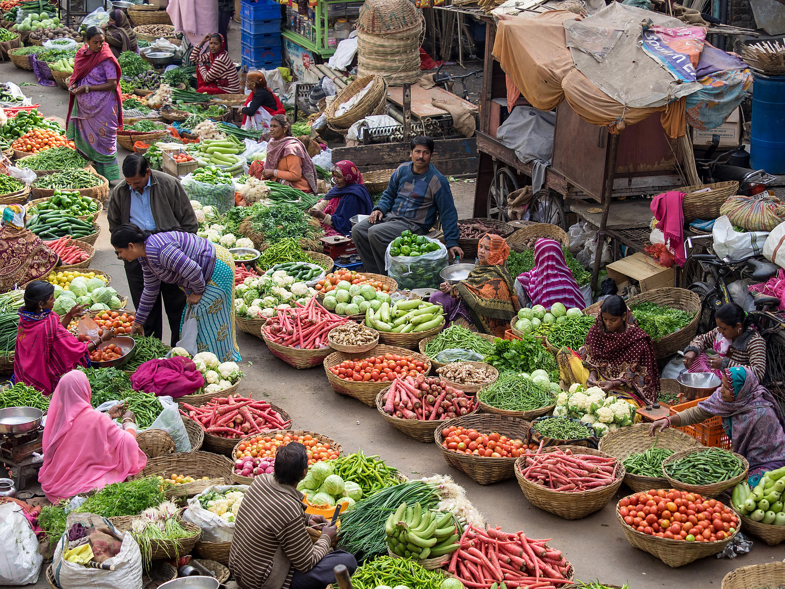 An everyday scene at any Indian vegetable market. This image was shot in Udaipur