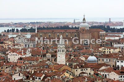 Looking north from the Campanile to the huge church of Santi Giovanni e Paolo (also known as San Zanipolo), Venice, Italy